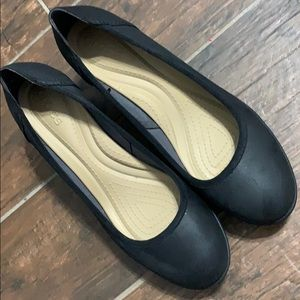 Black wedge with rubber sole